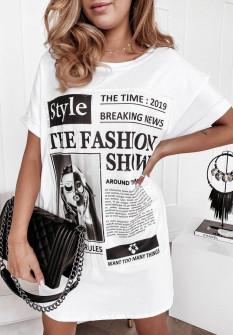 Γυναικείο μπλουζοφόρεμα με στάμπα 4655 άσπρο
