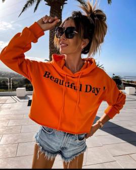 Γυναικείο φούτερ με κουκούλα 4429 πορτοκαλί