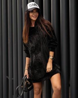 Γυναικείο μπλουζοφόρεμα βελουτέ 3305 μαύρο