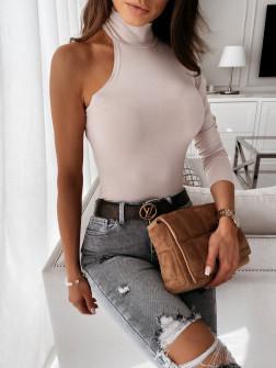 Μπλούζα με ένα μανίκι 4177 μπεζ