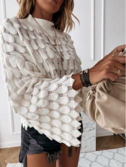 Γυναικείο πουλόβερ με φαρδύ μανίκι 00695 άσπρο