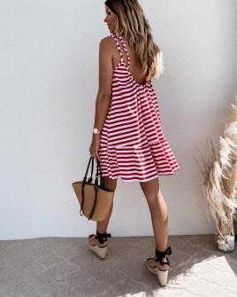 Γυναικείο εξώπλατο φόρεμα ριγέ 5120 κόκκινο