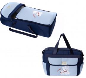 Σετ πορτ μπεμπέ και τσάντα 00453 σκούρο μπλε/γαλάζιο