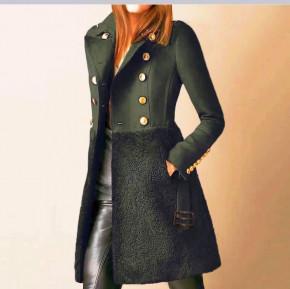 Εντυπωσιακό παλτό με φόδρα 5416 χακί