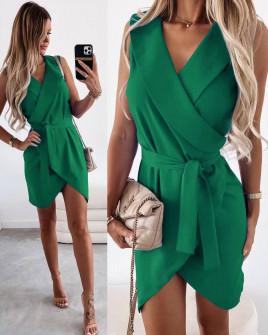 Γυναικείο φόρεμα κρουαζέ 5860 πράσινο