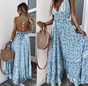 Γυναικείο μακρύ φόρεμα με σχέδια 500306