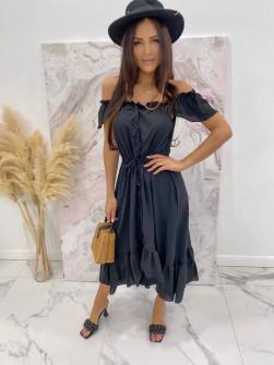 Γυναικείο φόρεμα με κουμπιά 3726 μαύρο
