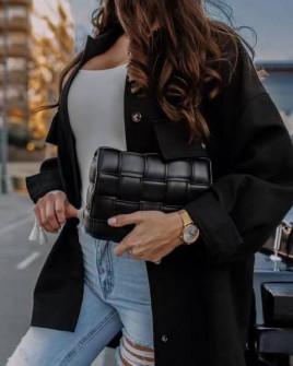 Γυναικείο πουκάμισο με τσέπες 7019 μαύρο