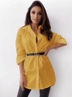 Γυναικείο πουκάμισο με ζώνη 5481 κίτρινο