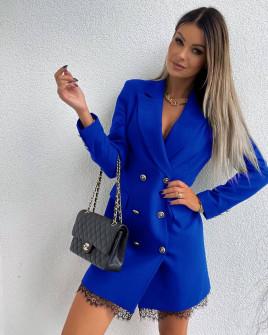 Γυναικείο εντυπωσιακό φόρεμα με δαντέλα 5998 μπλε