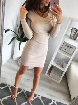 Γυναικείο εφαρμοστό φόρεμα 20810 μπεζ