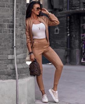 Γυναικείο σετ βελουτέ μπουφάν και παντελόνι 3734 καμηλό