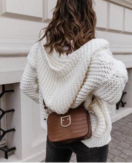 Γυναικεία κοντή ζακέτα με κουκούλα 9106 άσπρο