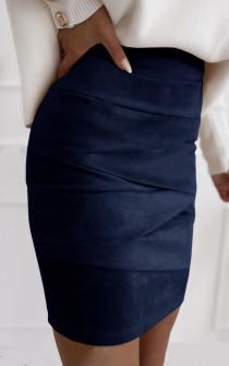 Γυναικεία σουέτ φούστα 5367  σκούρο μπλε