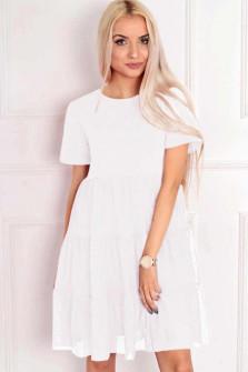 Γυναικείο φόρεμα με τούλι  στο κάτω μέρος 5060 άσπρο