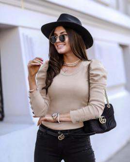 Γυναικεία μπλούζα με χρυσά κουμπιά 5375 μπεζ