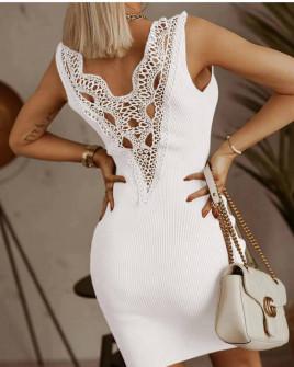 Γυναικείο φόρεμα με εντυπωσιακή δαντέλα 5583 άσπρο