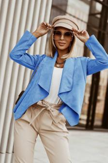 Γυναικείο κοντό βελούδινο σακάκι 6015 γαλάζιο