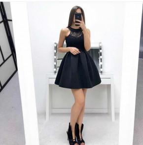 Γυναικείο φόρεμα με δαντέλα 22600 μαύρο