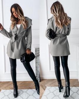 Γυναικείο παλτό με ζώνη χωρίς φόδρα 5290 γκρι
