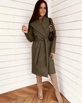 Γυναικείο μακρύ παλτό 3821 λαδί