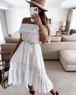 Γυναικείο φόρεμα με ζώνη 5695 άσπρο