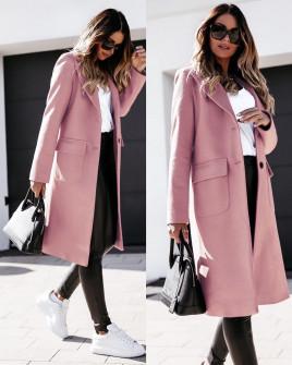 Γυναικείο παλτό μίντι με φόδρα 5361 ροζ