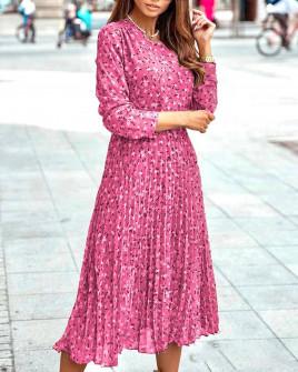 Γυναικείο μίντι φόρεμα σολέιγ 29833 ροζ