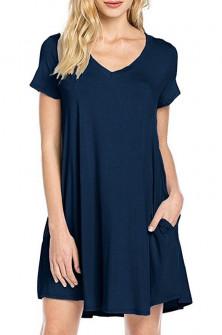 Дамска свободна рокля 13520 тъмно синя