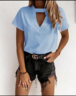 Γυναικεία κοντομάνικη μπλούζα 5167 γαλάζια