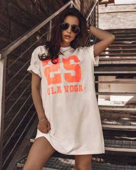Γυναικείο μπλουζοφόρεμα με στάμπα 36022 άσπρο/πορτοκαλί