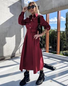 Γυναικείο μακρύ φόρεμα με ζώνη 8046 μπορντό
