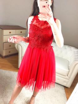 Γυναικείο φόρεμα με τούλι και δαντέλα 8523 κόκκινο