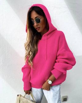 Γυναικεία πλεκτή μπλούζα με κουκούλα 00828 φούξια