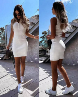Γυναικείο εφαρμοστό φόρεμα 5715 άσπρο