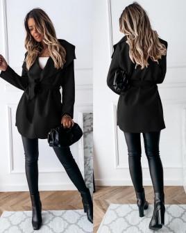 Γυναικείο παλτό με ζώνη χωρίς φόδρα 5290 μαύρο