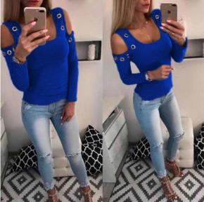 Γυναικεία έξωμη μπλούζα με τρούκς 2040 μπλε