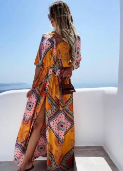 Γυναικείο μακρύ αέρινο φόρεμα 55783 πορτοκαλί