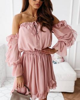 Γυναικείο έξωμο φόρεμα 3740 ροζ