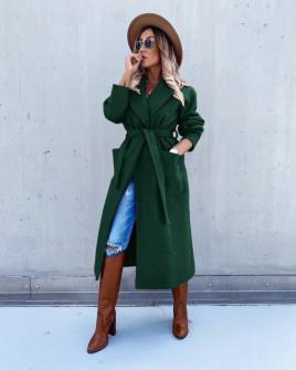 Γυναικείο μακρύ παλτό με φόδρα 5981 πράσινο