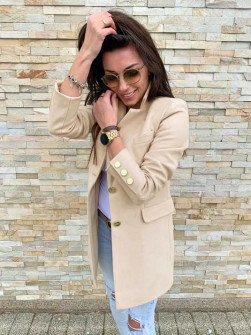 Γυναικείο σακάκι με χρυσά κουμπιά 5016 μπεζ