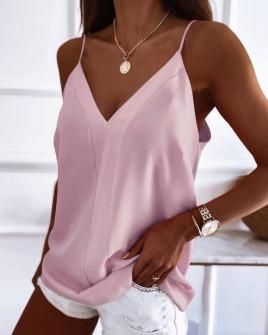 Γυναικείο τοπάκι με λεπτές τιράντες 5689 ροζ