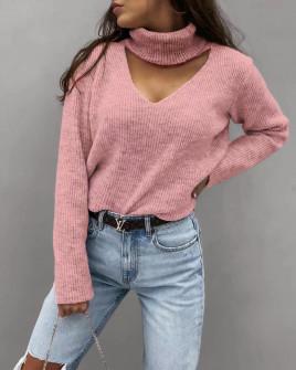 Γυναικείο εντυπωσιακό πουλόβερ 8164 ροζ