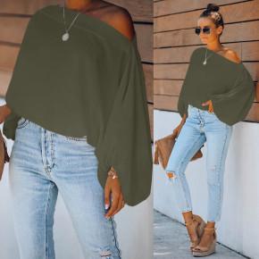 Γυναικεία μπλούζα με φουσκωτό μανίκι 2408 πράσινη
