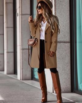Γυναικείο κομψό παλτό με φόδρα 5355 καμηλό