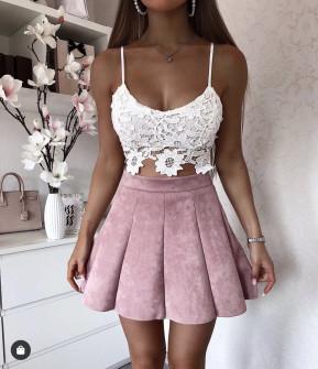 Γυναικεία φούστα 16238 ροζ