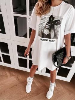 Γυναικείο μπλουζοφόρεμα 14568 άσπρο