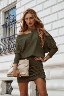 Γυναικείο σετ φούστα και μπλούζα 3495 πράσινο