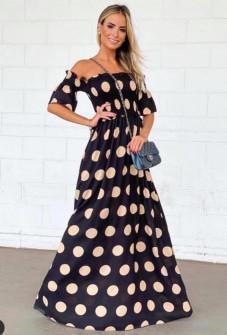 Γυναικείο μακρύ φόρεμα πουά 5191 μαύρο