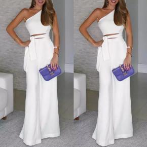 Γυναικεία ολόσωμη φόρμα με έναν ώμο 5042 άσπρη
